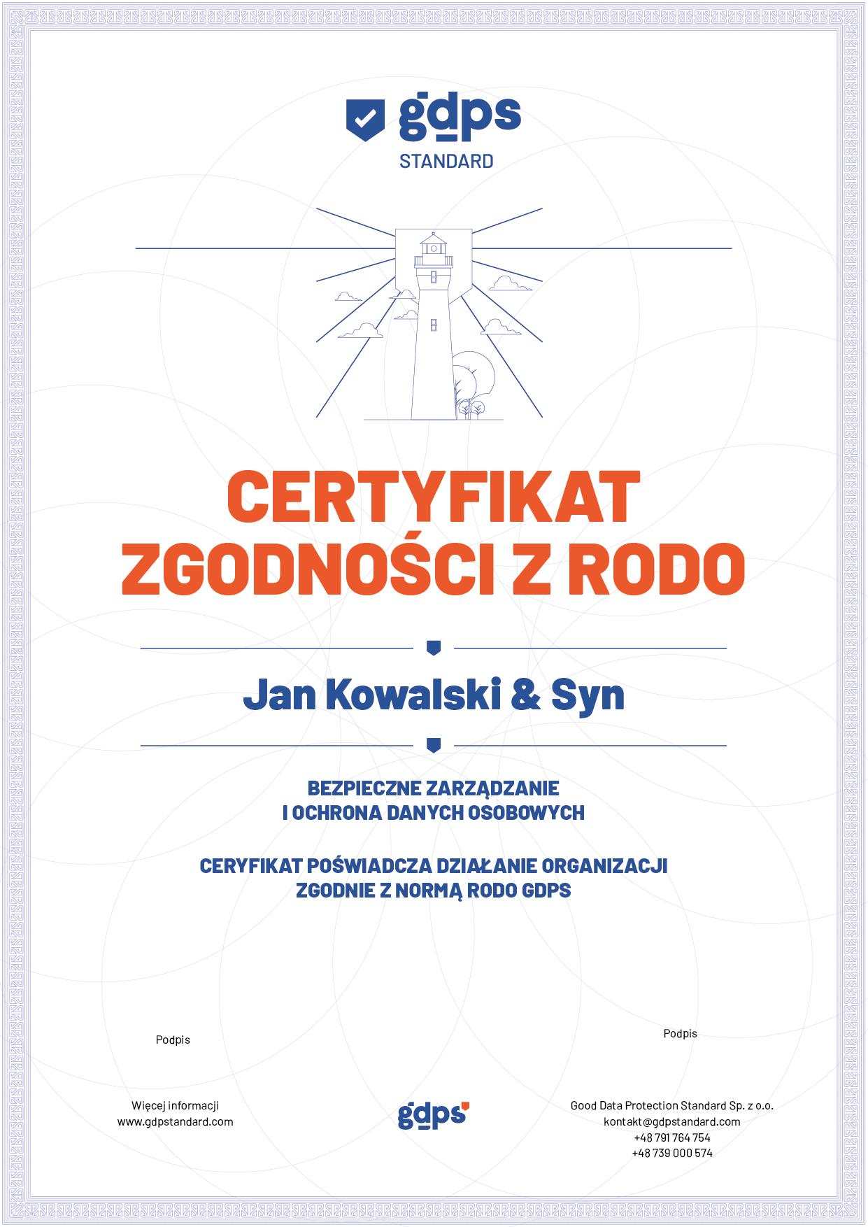 Certyfikat GDPS